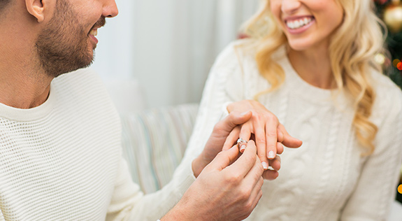 proposal with diamond engagement ring